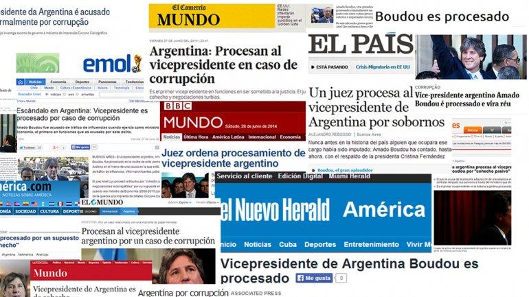 El procesamiento de Boudou, reflejado por la prensa mundial