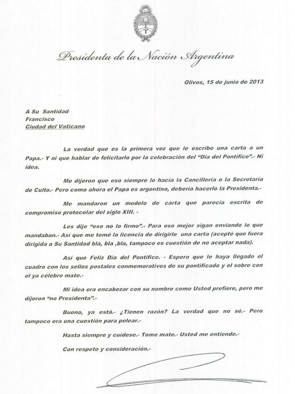 La Presidente saludó por carta a Francisco por el