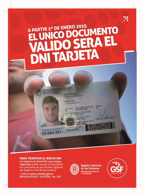 El Registro Civil de Santa Fe recuerda que desde enero de 2015 sólo será válido el DNI tarjeta